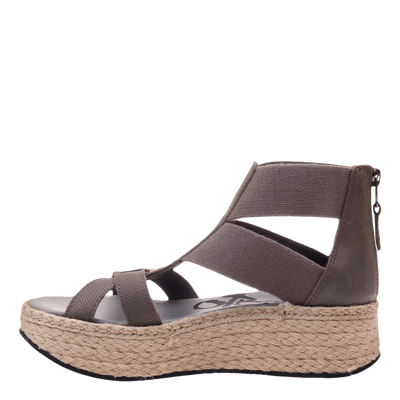 Womens Cannonball wedge sandal in zinc inside view