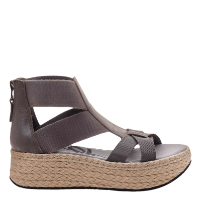Womens Cannonball wedge sandal in zinc side view