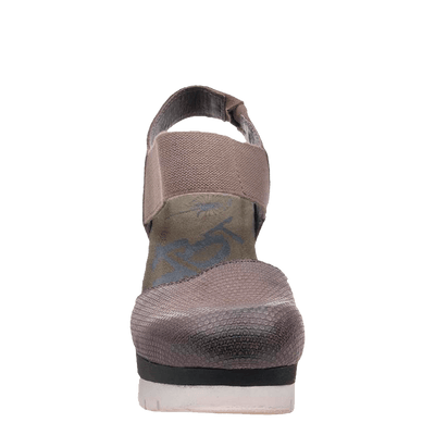 Womens closed toe wedge carry on cinder front