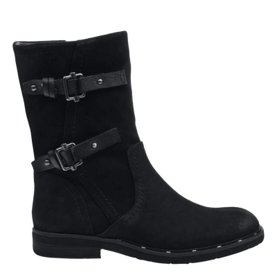 Causeway womens boot in black side view