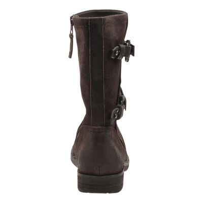 Causeway womens boot in dark brown back view