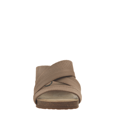 Womens slide sandal departure in pecan front view