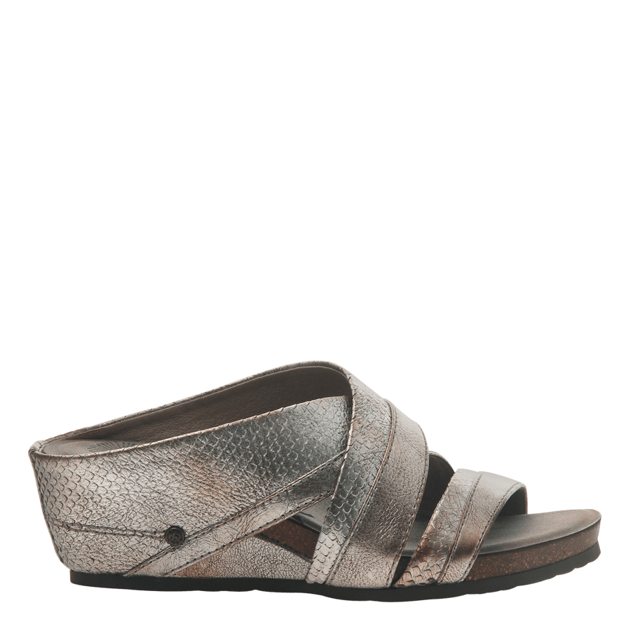 Womens slide sandal departure in silver