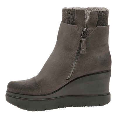Womens ankle boot descend in charcoal grey inside view