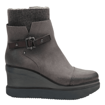 Womens ankle boot descend in charcoal grey side view