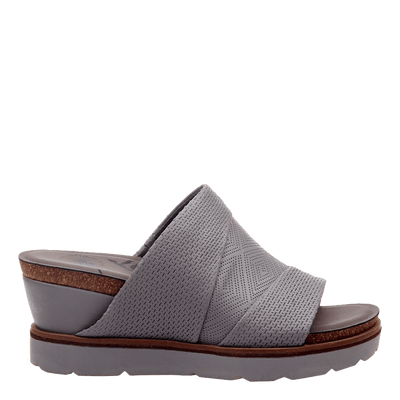 Womens wedge earthshine in zinc side view