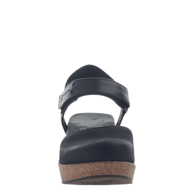 Womens wedge elizabeth in black front view