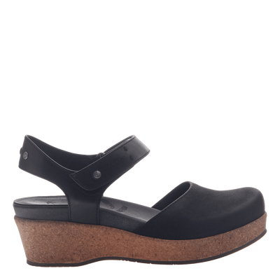 Womens wedge elizabeth in black side view