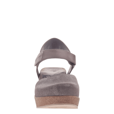 Womens wedge elizabeth in grey silver front view