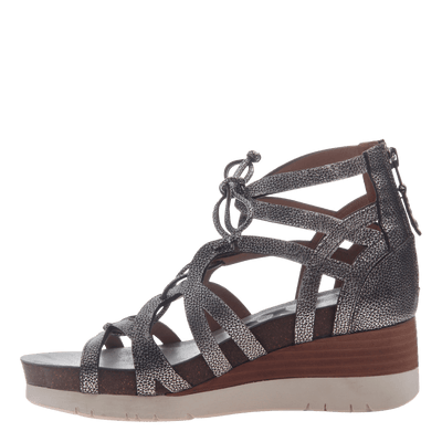 Womens gladiator lace up wedge escapade silver inside view