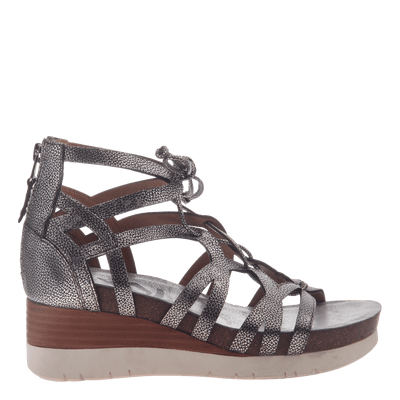 Womens gladiator lace up wedge escapade silver side view