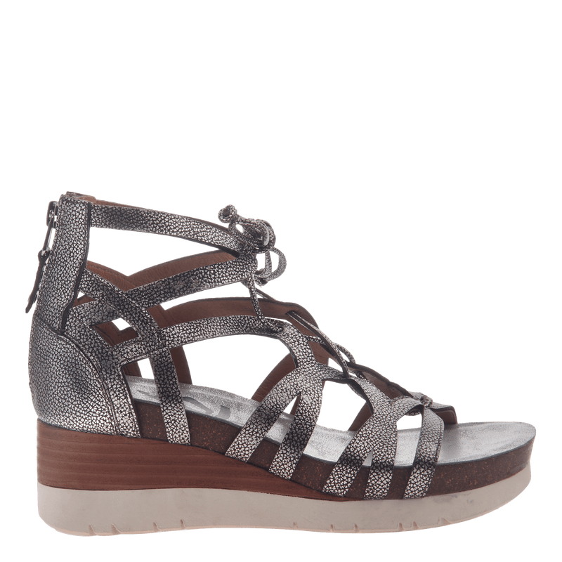 Womens gladiator lace up wedge escapade silver