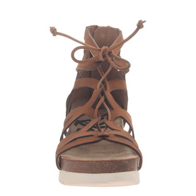 Womens gladiator lace up wedge escapade in tan front view