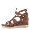 Womens gladiator lace up wedge escapade in tan inside view