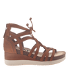 Womens gladiator lace up wedge escapade in tan side view