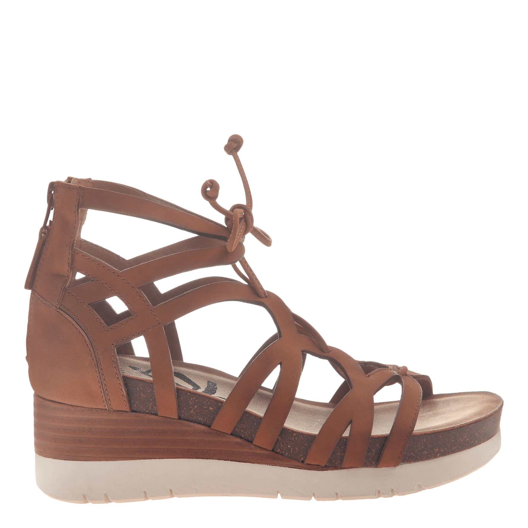 bc472a034 Womens gladiator lace up wedge escapade in tan side view