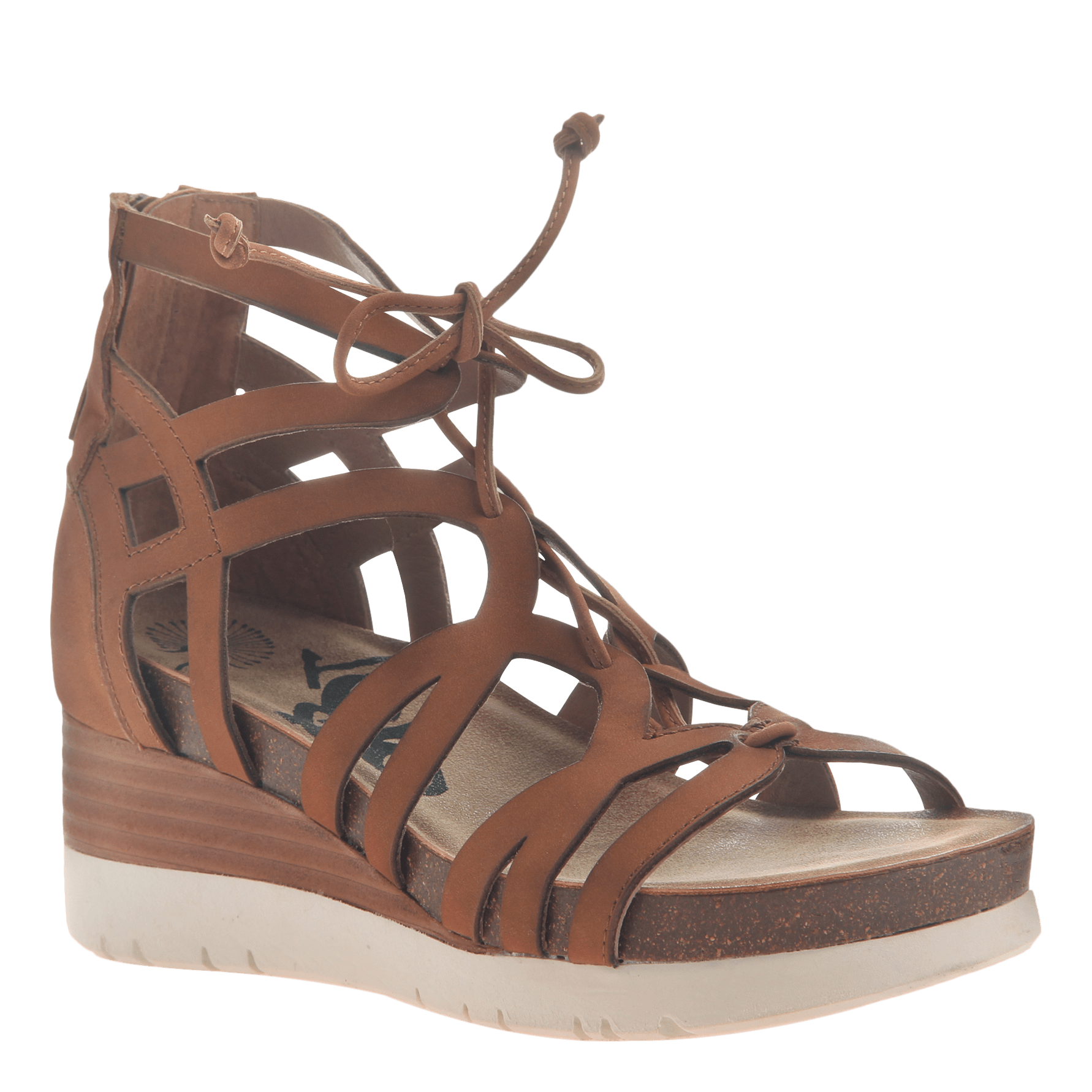 Womens gladiator lace up wedge escapade in tan