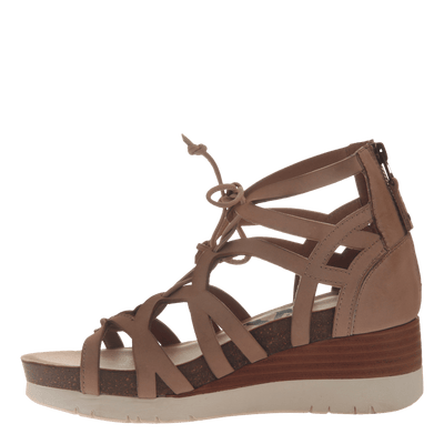 Womens gladiator lace up wedge escapade in warm pink inside view