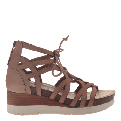 Womens gladiator lace up wedge escapade in warm pink side view