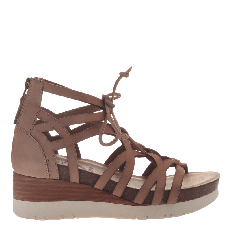 Womens gladiator lace up wedge escapade in warm pink