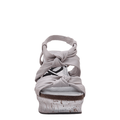 Womens wedge far side in dove grey front view