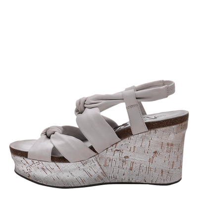 Womens wedge far side in dove grey inside view