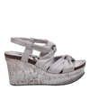 Womens wedge far side in dove grey side view