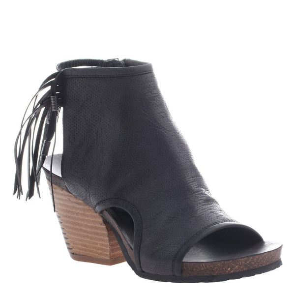 OTBT, Free Spirit, Black, Fringe open toe, open heel transition shoe