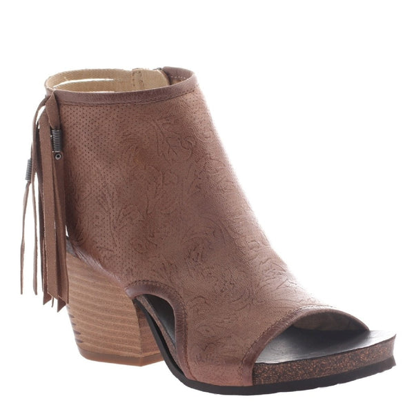OTBT, Free Spirit, Hickory, Fringe bootie with open heel and open toe