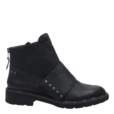 Womens frontage boot black side view