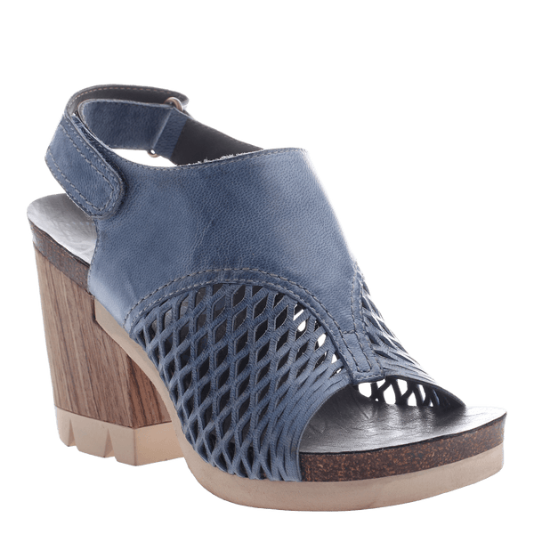 OTBT, Jet Set, Blue, Platform wood wrapped heel open toe and open heel