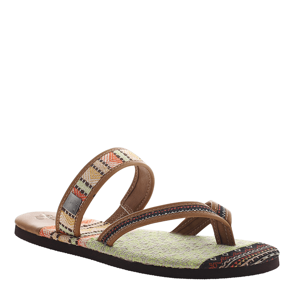 OTBT, Cokato, New Tan,  flat fabric pattern sandal