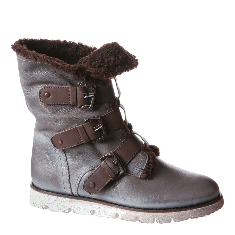 OTBT, Black Jack, Dust Grey, Winter fur lined boot with buckle straps