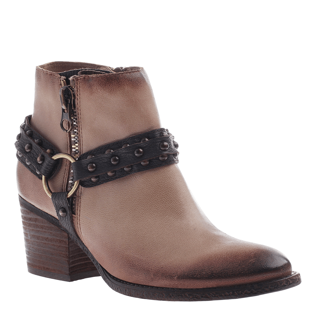 OTBT, Emery, Grey Powder, Leather ankle boot with outside zipper and buckle