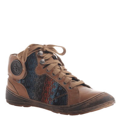 OTBT, Providence, Dark Brown, Fabric sneaker with lace up ties