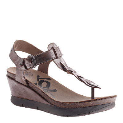 OTBT, Graceville, Pewter, Thong wedge with ankle strap and buckle