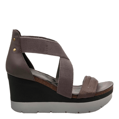 Womens wedge half moon cinder side view