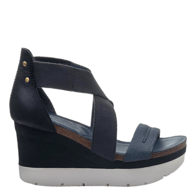 Womens wedge half moon king blue side