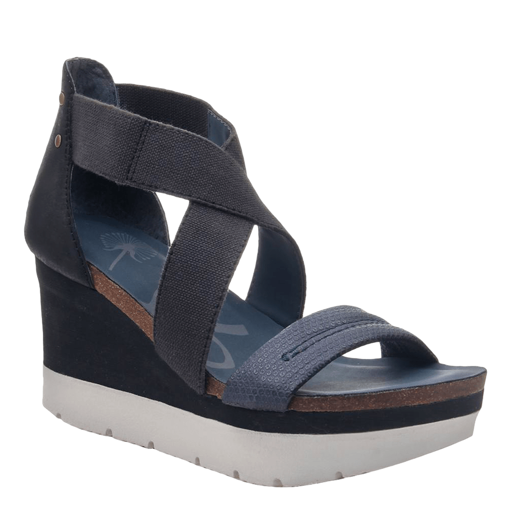 Womens wedge half moon king blue