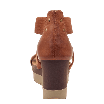 Womens wedge half moon New Tan back view