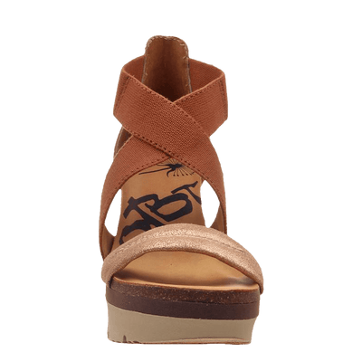 Womens wedge half moon New Tan front