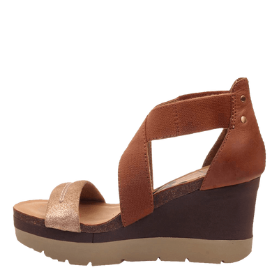 Womens wedge half moon New Tan inside