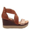 Womens wedge half moon New Tan side view