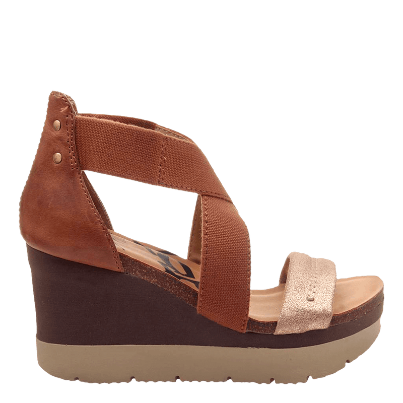 Womens wedge half moon New Tan