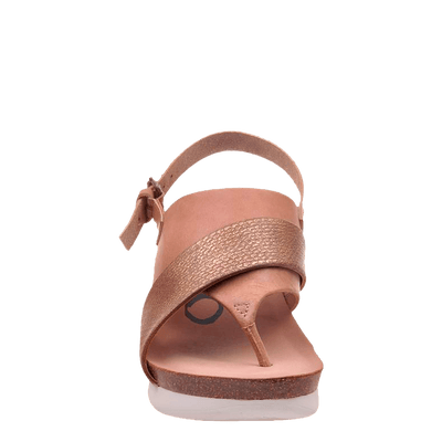 Womens wedge in focus warm pink front