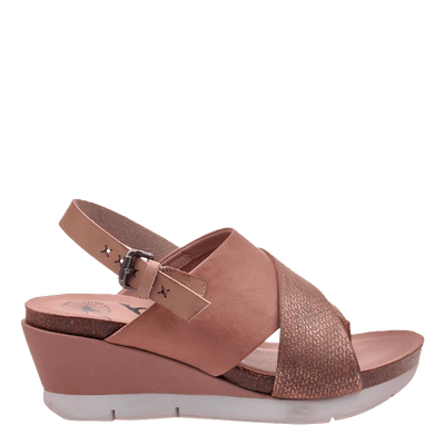 Womens wedge in focus warm pink side view