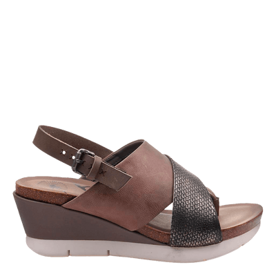 Womens wedge in focus zinc side view