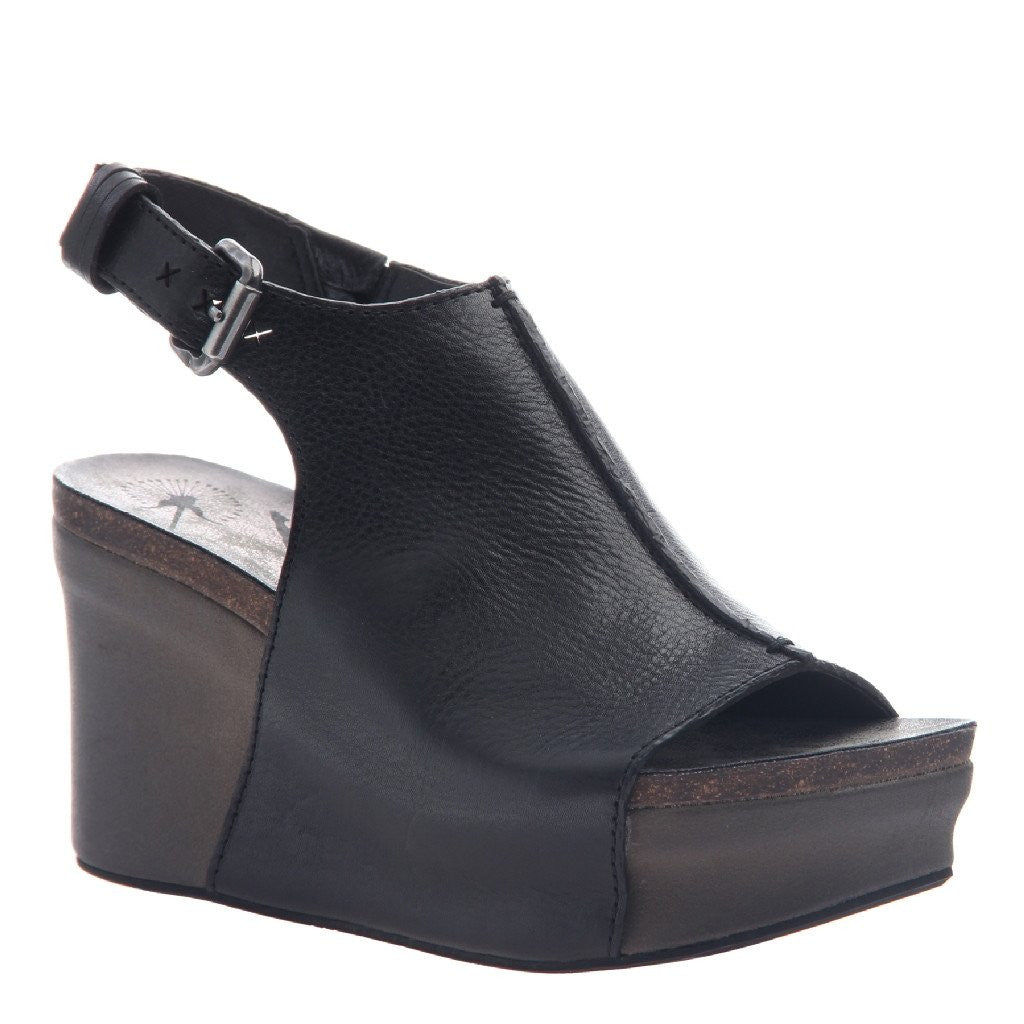 e7c051fe39872 Jaunt in Black Wedge Sandals | Women's Shoes by OTBT