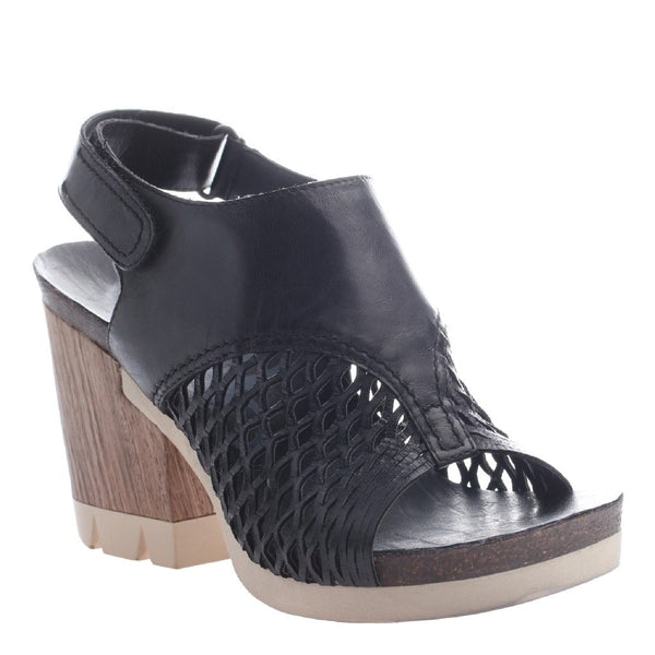 OTBT, Jet Set, Black, Platform wood wrapped heel, open toe, open heel