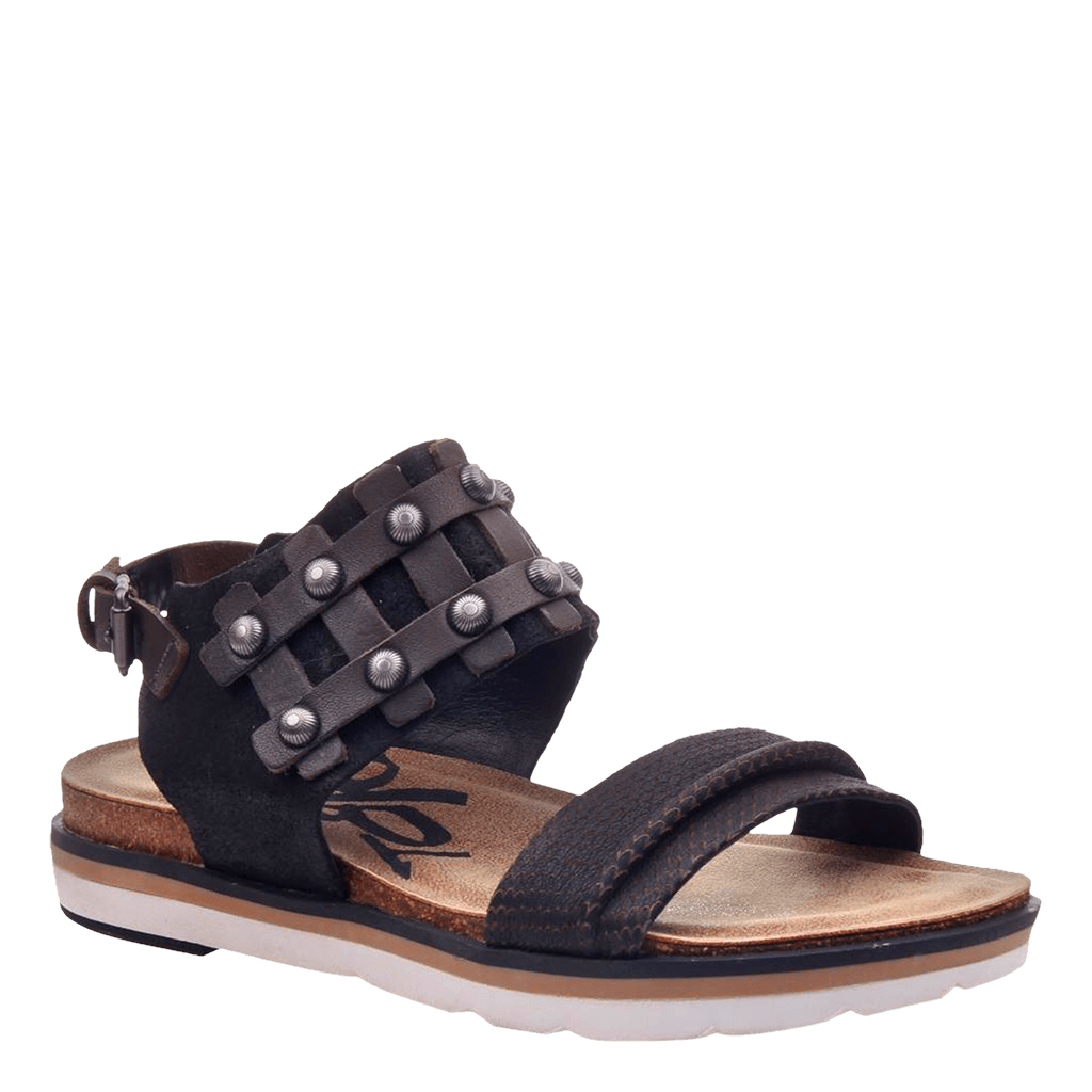 Womens flat sandal lantern in black